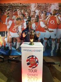 Fr Michael with the Arsenal FA Cup